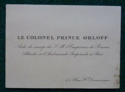 Antique Embossed Calling Card Colonel Prince Orlov Aide-de-Camp Tsar Nicholas II